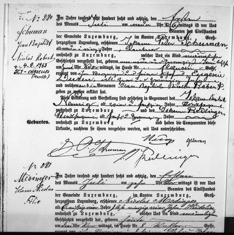 Acte de naissance de Robert Schuman